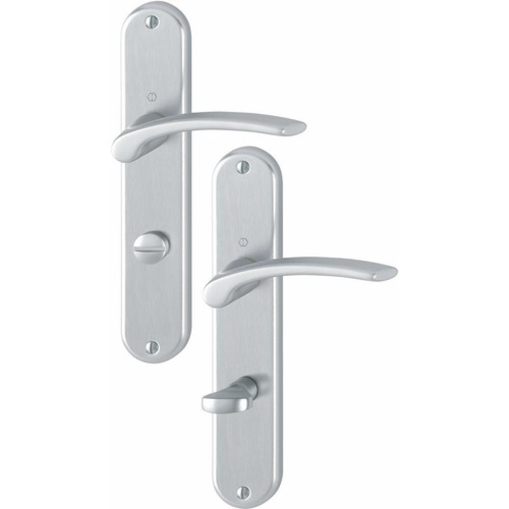 poign e de porte ensemble sur grande plaque en aluminium anodis ibiza hoppe bricozor. Black Bedroom Furniture Sets. Home Design Ideas