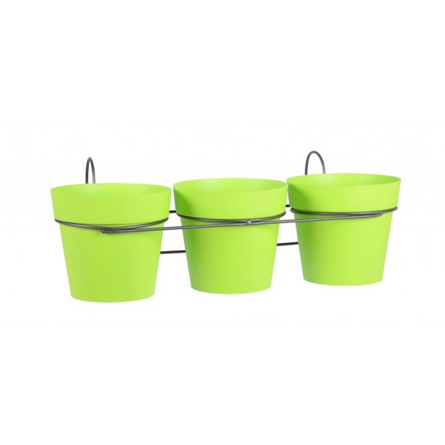 Lot 3 pots pistache + support - 1,1 litres - Toscane 11460 EDA PLASTIQUES