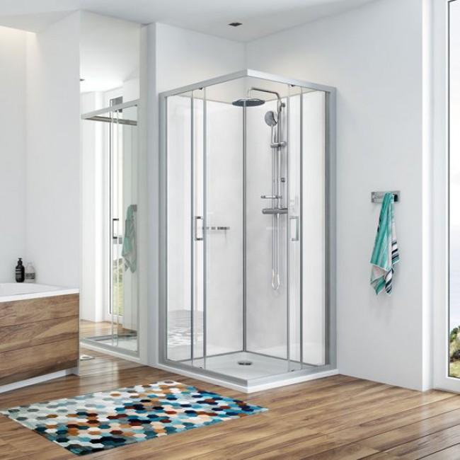 Cabine de douche - 4 dimensions - coulissantes & déclipsables - angle - Kara LEDA