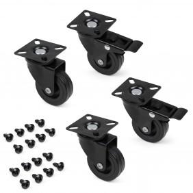 Roulettes design - entièrement noires - kit de 4 pièces + fixation EMUCA