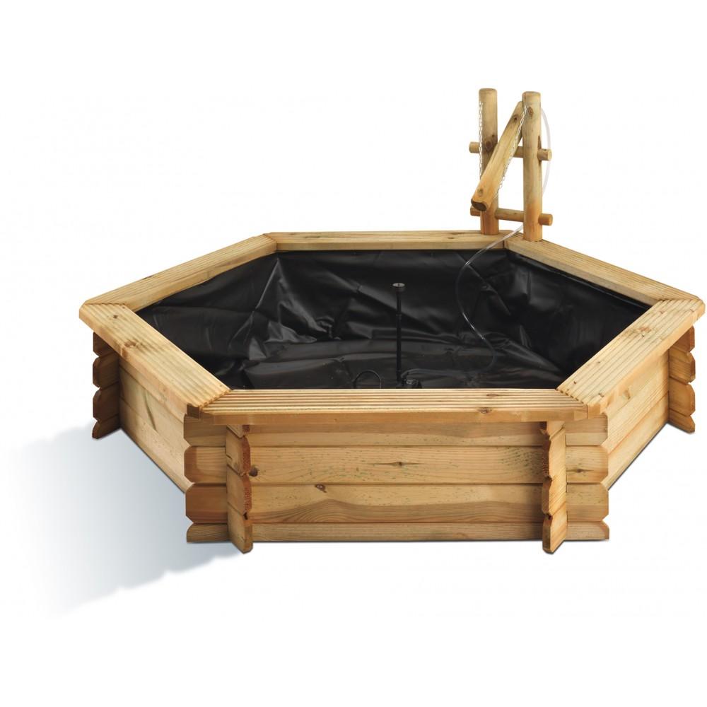 bassin de jardin en bois hexagonal 360 l tokyo b che pompe bricozor. Black Bedroom Furniture Sets. Home Design Ideas