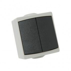 Double interrupteur va-et-vient étanche IP65 complet - gris - Perle DEBFLEX