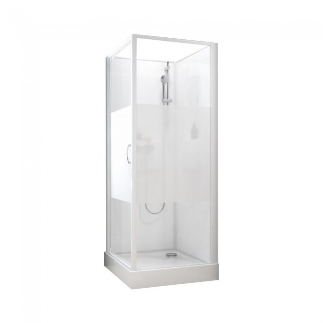 Cabine de douche -Izibox 2 -Porte pivotante + mitigeur thermostatique LEDA