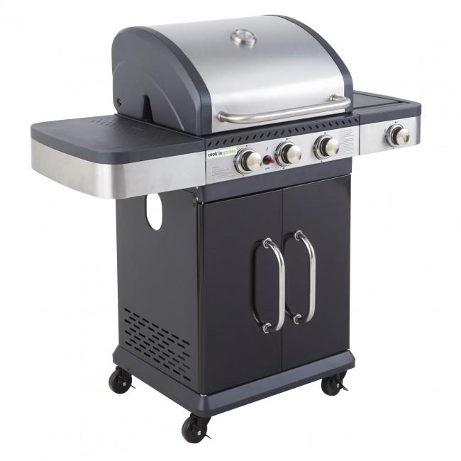 Barbecue gaz Américain 3 feux + réchaud latéral - FIDGI 3 COOK IN GARDEN