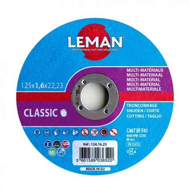 25 disques à tronçonner - multi-materiaux - 125x1,6x22,23 mm LEMAN