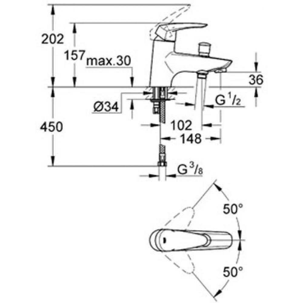 mitigeur baignoire monotrou chrom eurodisc 33192001. Black Bedroom Furniture Sets. Home Design Ideas