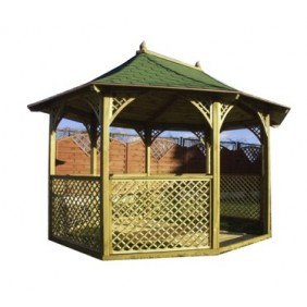 Kiosque de jardin octogonal allongé - diam 3,6 m x H 3,1 m - KI M 36 HABRITA