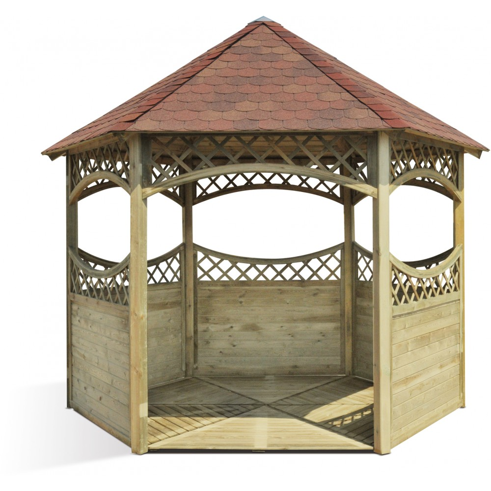 Kiosque de jardin hexagonale en bois - diamètre 450 cm - Red ...