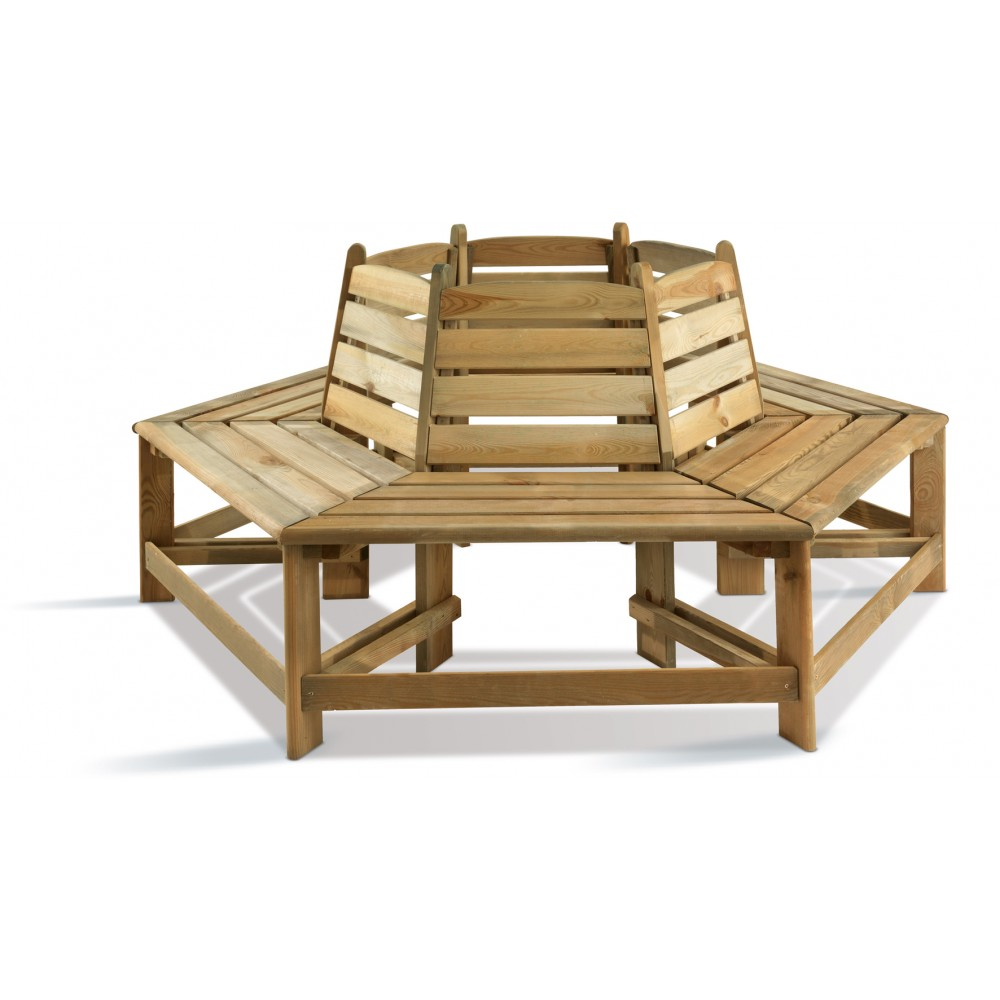 Banc de jardin en bois rond 360 degr s orlando bricozor for Banc de jardin square