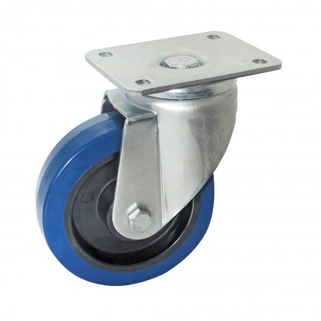 Roulette caoutchouc bleu sur platine pivotante AVL