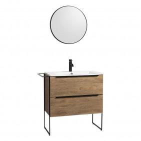 Meuble de salle de bains - et miroir - 80 cm Lux  - plan résine BATHDESIGN