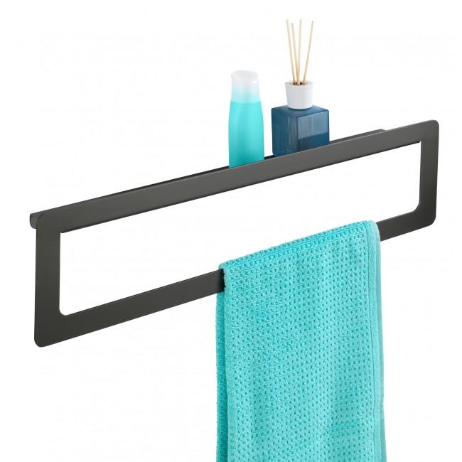 Porte-serviettes avec tablette Montella, aluminium WENKO