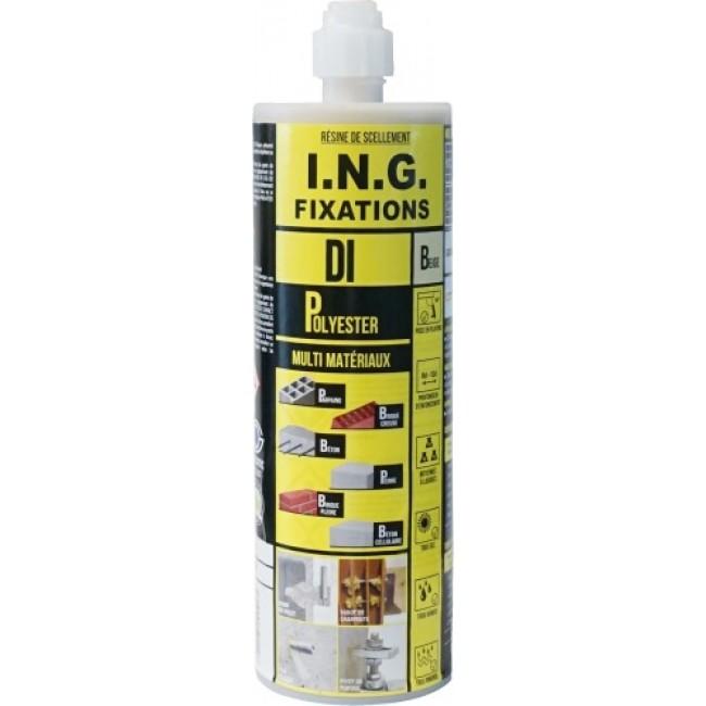 Scellement chimique - résine polyester D.I. - cartouche ING FIXATIONS