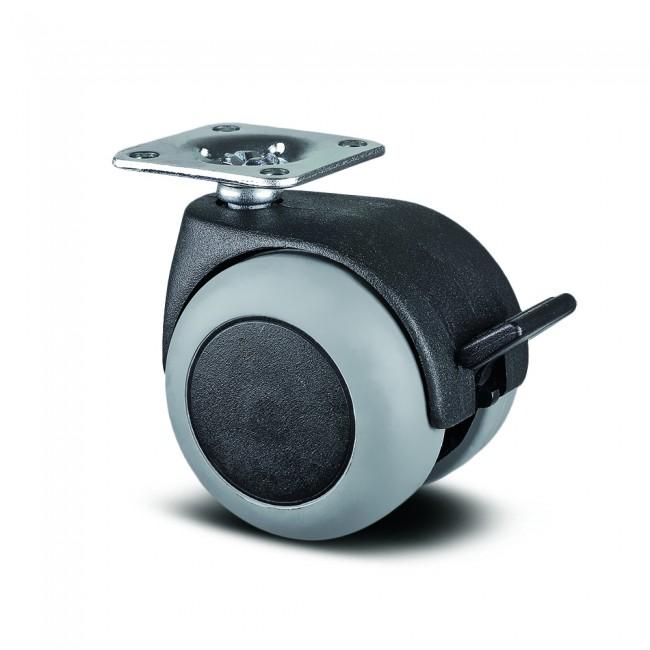 Roulette pivotante à frein table et bureau - platine - ø50mm - Lumina TENTE