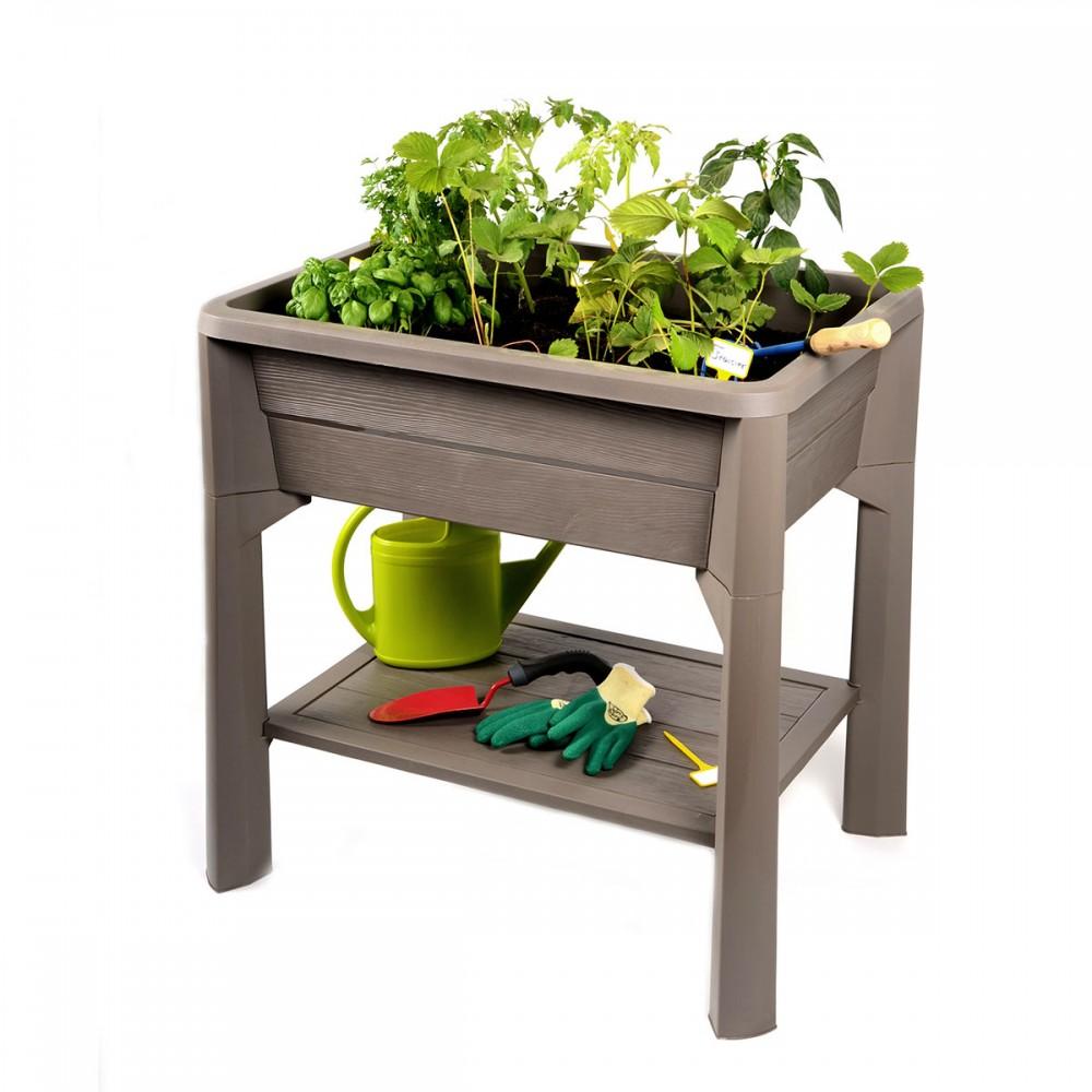 jardini re sur pieds taupe serre 80 litres v g table eda plastiques bricozor. Black Bedroom Furniture Sets. Home Design Ideas