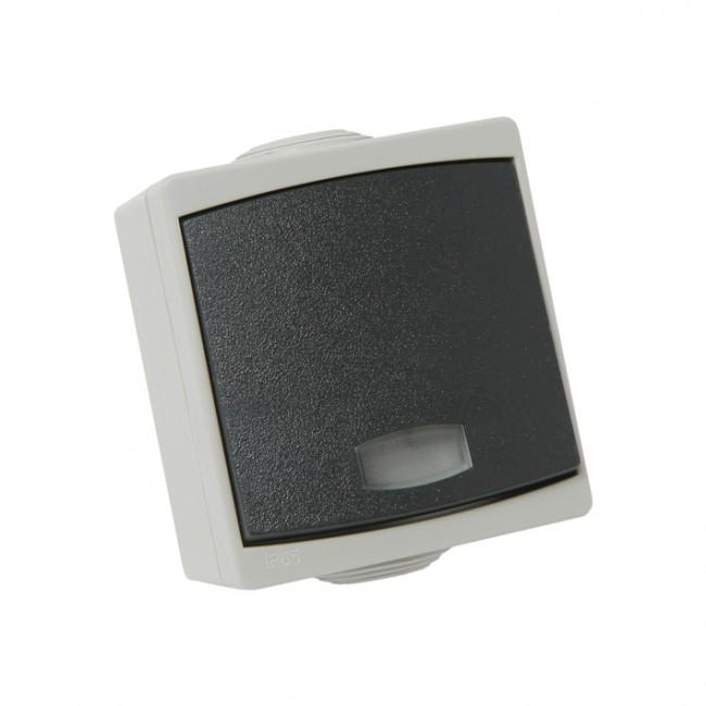 Bouton poussoir gris avec voyant étanche IP65 complet - gris Perle DEBFLEX