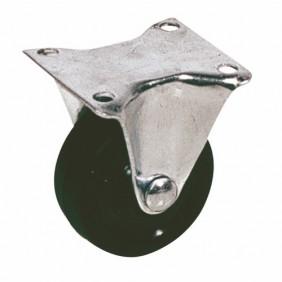 Roulette Drill en caoutchouc noir sur platine fixe GUITEL