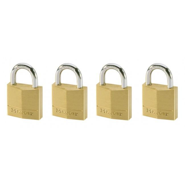 Lot de 4 cadenas à clé s'entrouvrant - laiton massif de 30mm de large MASTER LOCK