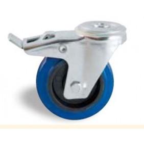 Roulette pivotante à frein sur oeil - bandage caoutchouc bleu AVL