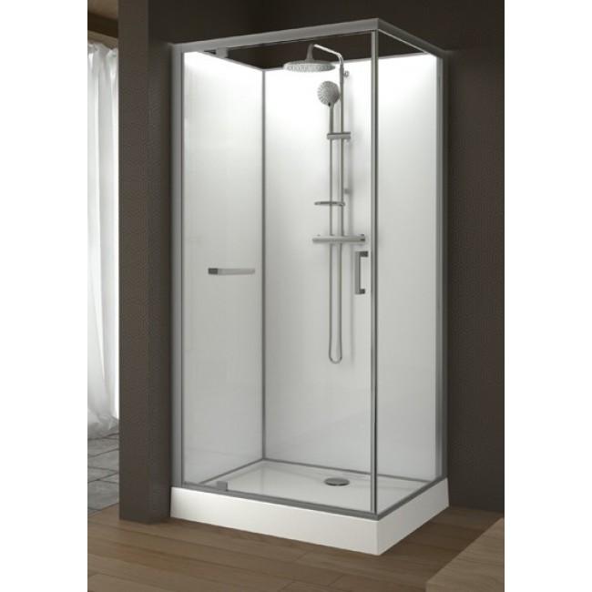 Cabine de douche rectangulaire 100 x 80 cm porte pivotante kara leda bricozor Porte cabine de douche