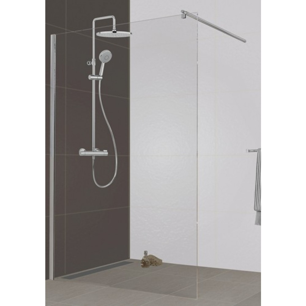 Paroi de douche l 39 italienne open 2 verre transparent 100 cm leda bricozor for Photo de douche a l italienne
