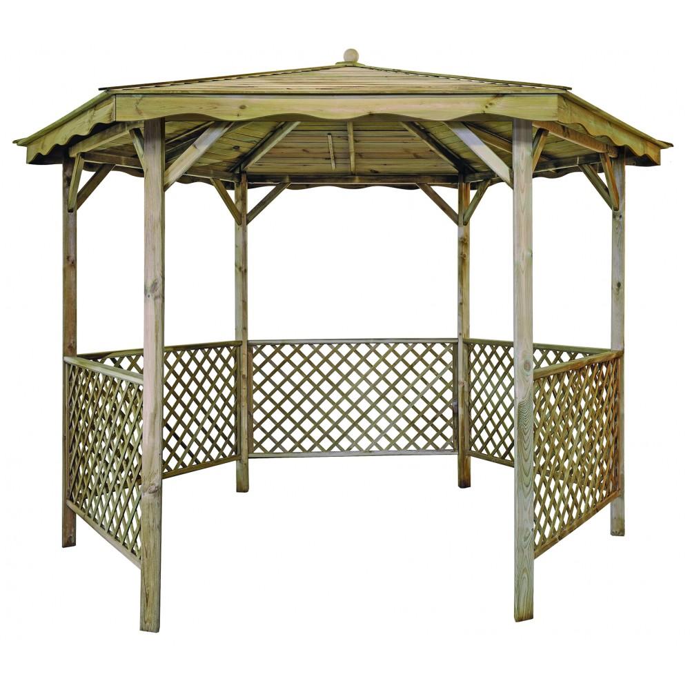 Kiosque En Bois Hexagonal tonnelle hexagonale en bois - diamètre 320 cm - lora jardipolys sur bricozor