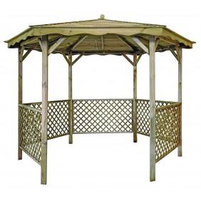 Tonnelle hexagonale en bois - diamètre 320 cm - Lora JARDIPOLYS