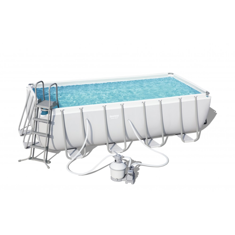 Piscine Tubulaire Rectangulaire - 488x244cmx122cm - Power Steel Frame Pools  BESTWAY
