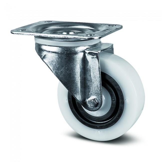 Roulette pivotante à platine - polyamide et caoutchouc élastique - Synthec TENTE