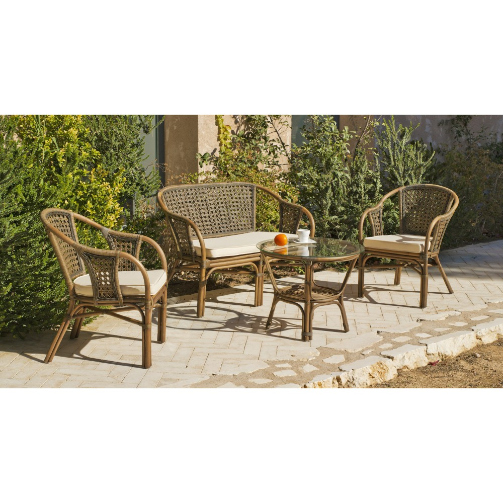 Salon de jardin en rotin naturel sofa 2 fauteuils et for Salons en rotin