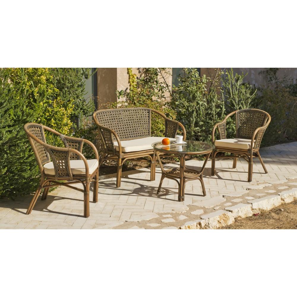 Salon de jardin en rotin naturel, 2 fauteuils et table basse ...