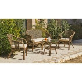 Salon de jardin en rotin naturel : sofa, 2 fauteuils et table basse INDOOR OUTDOOR