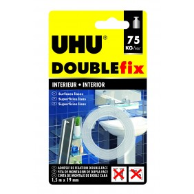 Ruban adhésif Doublefix Extra Fort intérieur blanc - 1,5 m x 19 mm Uhu