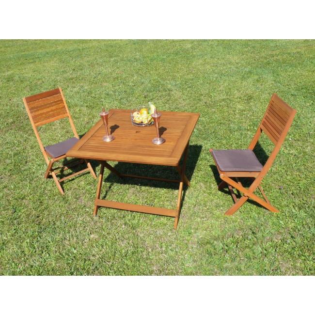 Lot de 2 chaises pliantes de jardin en bois fsc kussi - Chaise de jardin en bois pliante ...