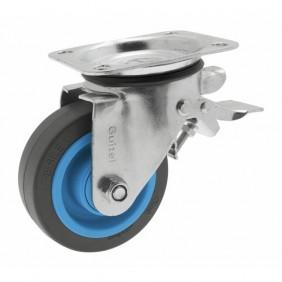 Roulette pivotante - à blocage - sur platine - Résilex® - Maxiroll GUITEL