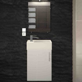 Meuble de salle de bain 40 cm - KIM -  Blanc laqué / Gris mat ou Chêne LYNCO