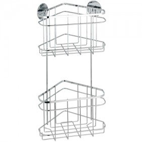 Étagère d'angle pour salle de bain - 2 paniers - Fixation Turbo-Loc WENKO