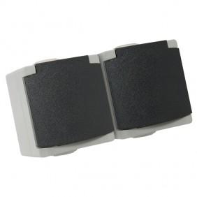 Double prise 2P+T 10/16A étanche IP65 complet - gris Perle DEBFLEX