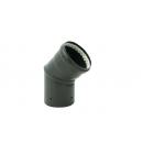Coude acier émail noir à 45° - joint fibre de verre TEN