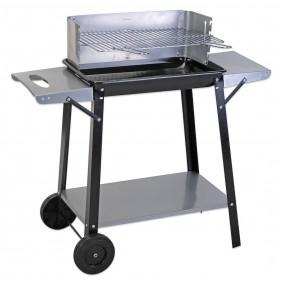 Barbecue charbon 2 roues + 2 tablettes - 90x32cm FINE GARDEN