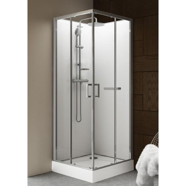 Cabine de douche - 90 x 90 cm carrée - portes coulissantes - Kara LEDA