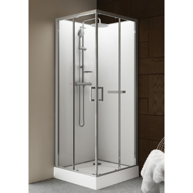 cabine de douche 90 x 90 cm carr e portes coulissantes kara leda bricozor. Black Bedroom Furniture Sets. Home Design Ideas