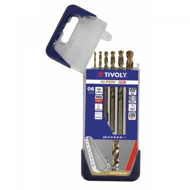 Coffret de 6 forets inox queue cylindrique Hi-Perf TIVOLY
