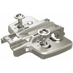 Embases pour ferrures d'angle avec vis spéciales prémontées HETTICH