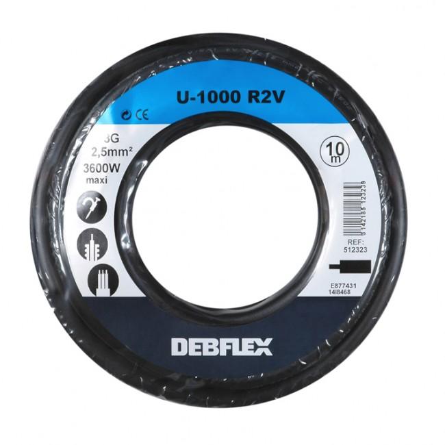 Câble rigide - U-1000 R2V - noir DEBFLEX