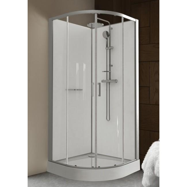 cabine de douche 90 x 90 cm arrondie portes coulissantes kara leda bricozor. Black Bedroom Furniture Sets. Home Design Ideas