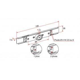 Serrure extra plate volets roulants - Lame de 7 à 9 mm TIRARD