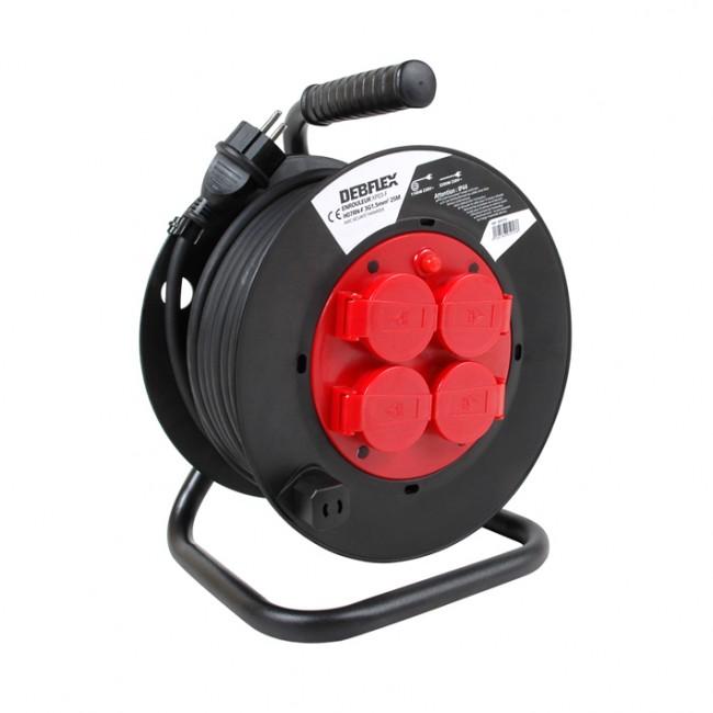Enrouleur 4 prises à clapet +disj thermique - HO7RNF 3G1.5 DEBFLEX