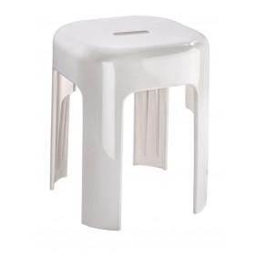 Tabouret classique et robuste pour salle de bain - ABS blanc WENKO