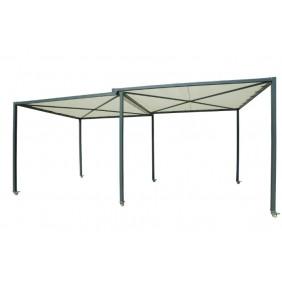 Pergola extensible - toit en toile polyester - surface 16,24 m2 - Alex HABRITA